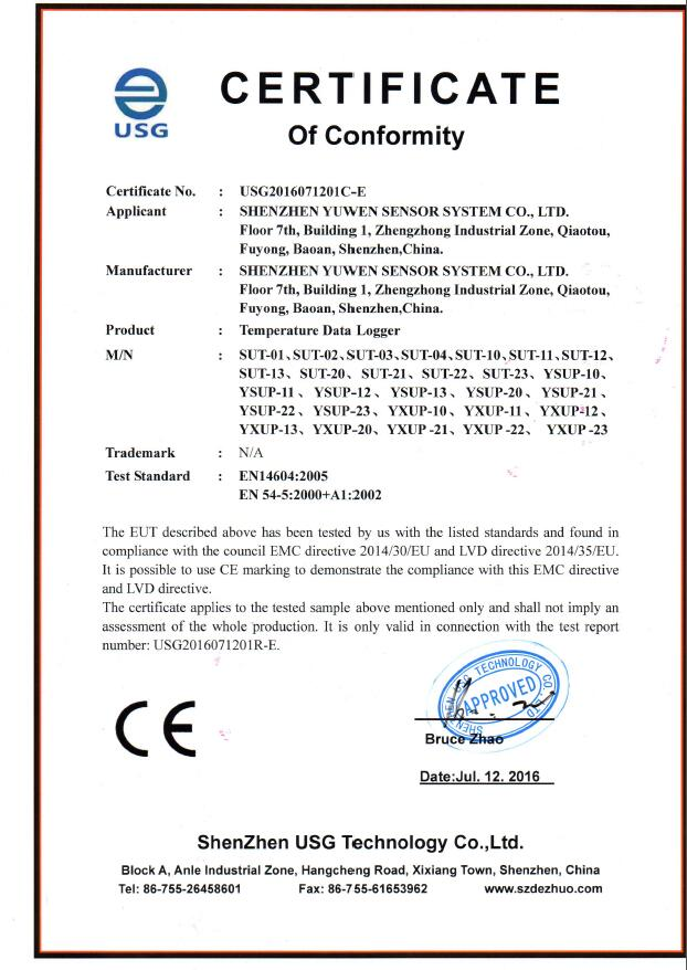 single use pdf temperature data logger CE