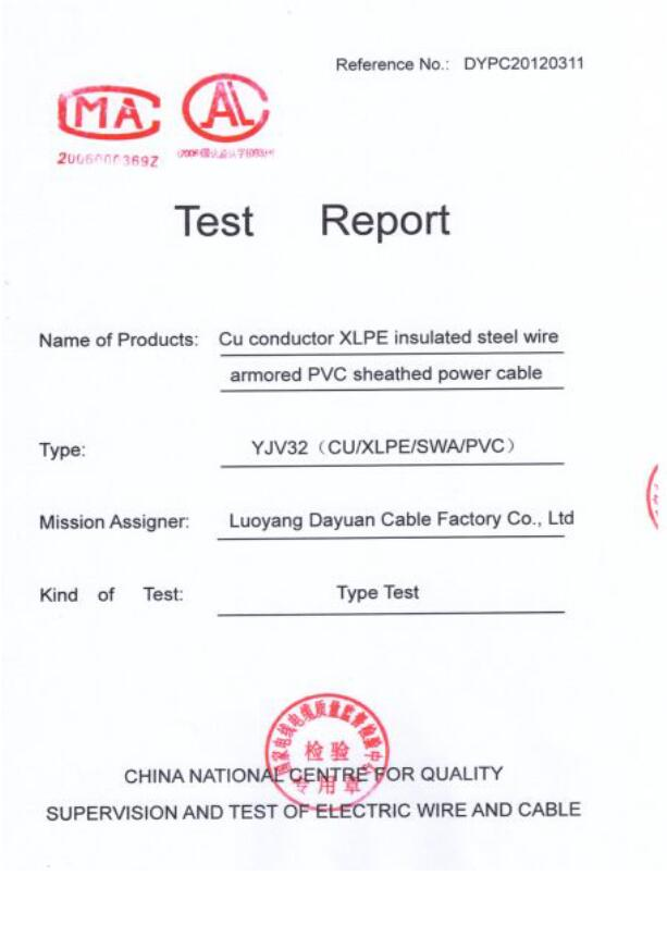 Test Report-Power Cable