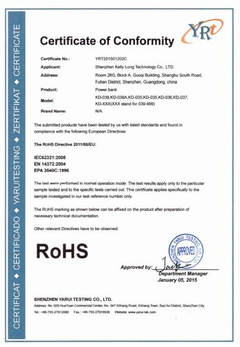 RoHS certificate of power bank