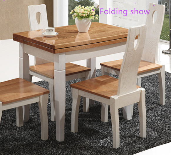 Extension solid wood furniture dining table and chairs designs
