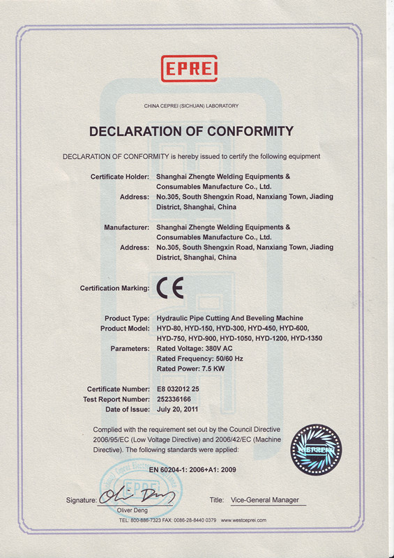 CE Certificates for Hydraulic Pipe Cutting and Belveling Machine