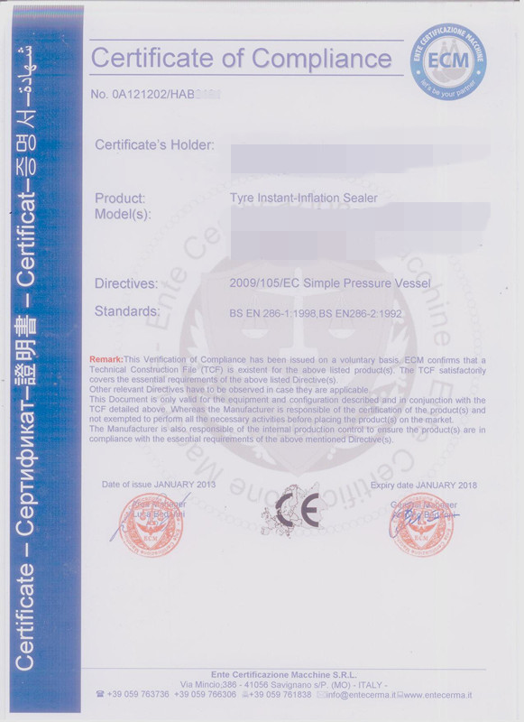 CE for Tyre Bead Seater