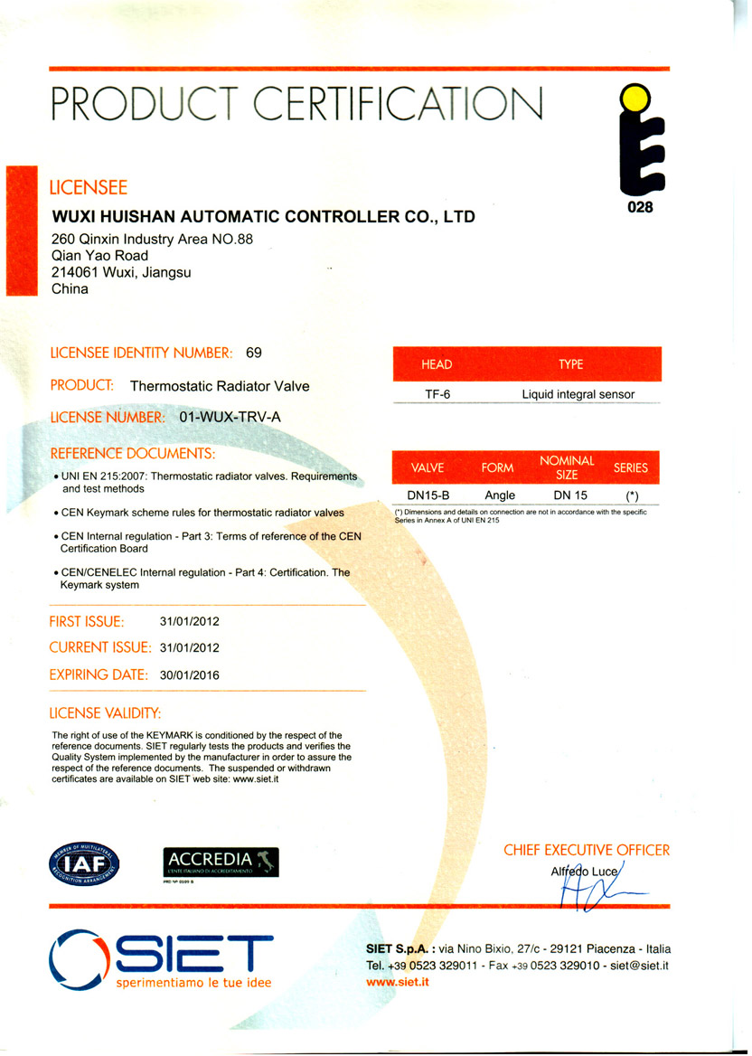 EN215 certificate of TF-6 +DN15-B thermostatic radiator valve