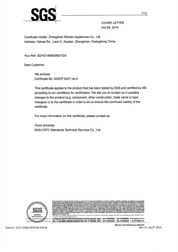 Gas Water Heater CE Certificate