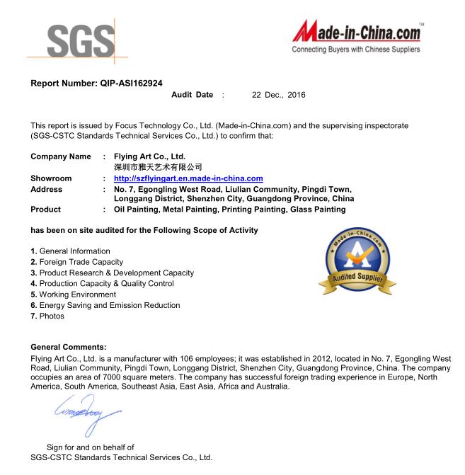 SGS certiiycates