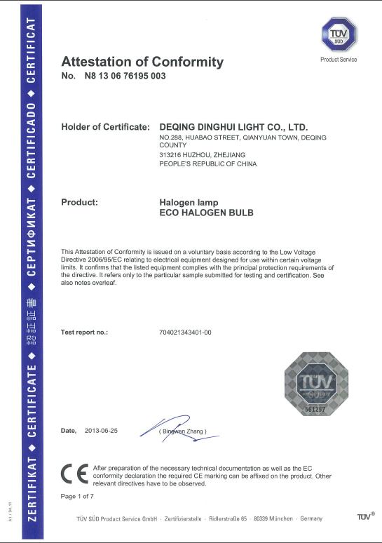 CE Certificate of Halogen bulb