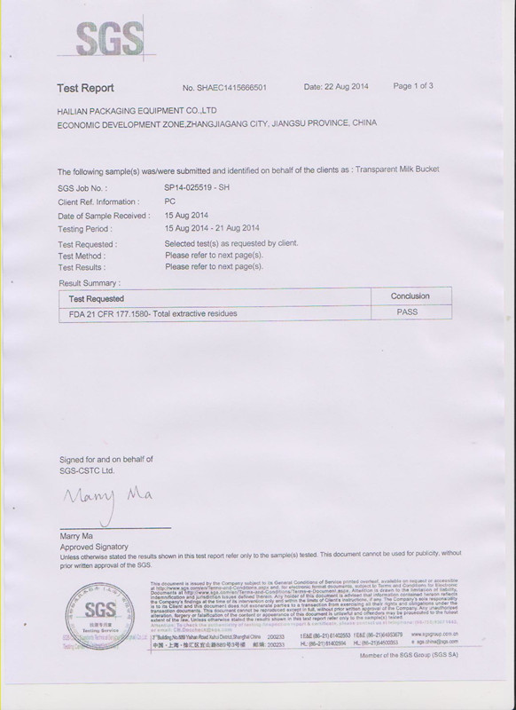 FDA certificate for Transparent Milk Bucket