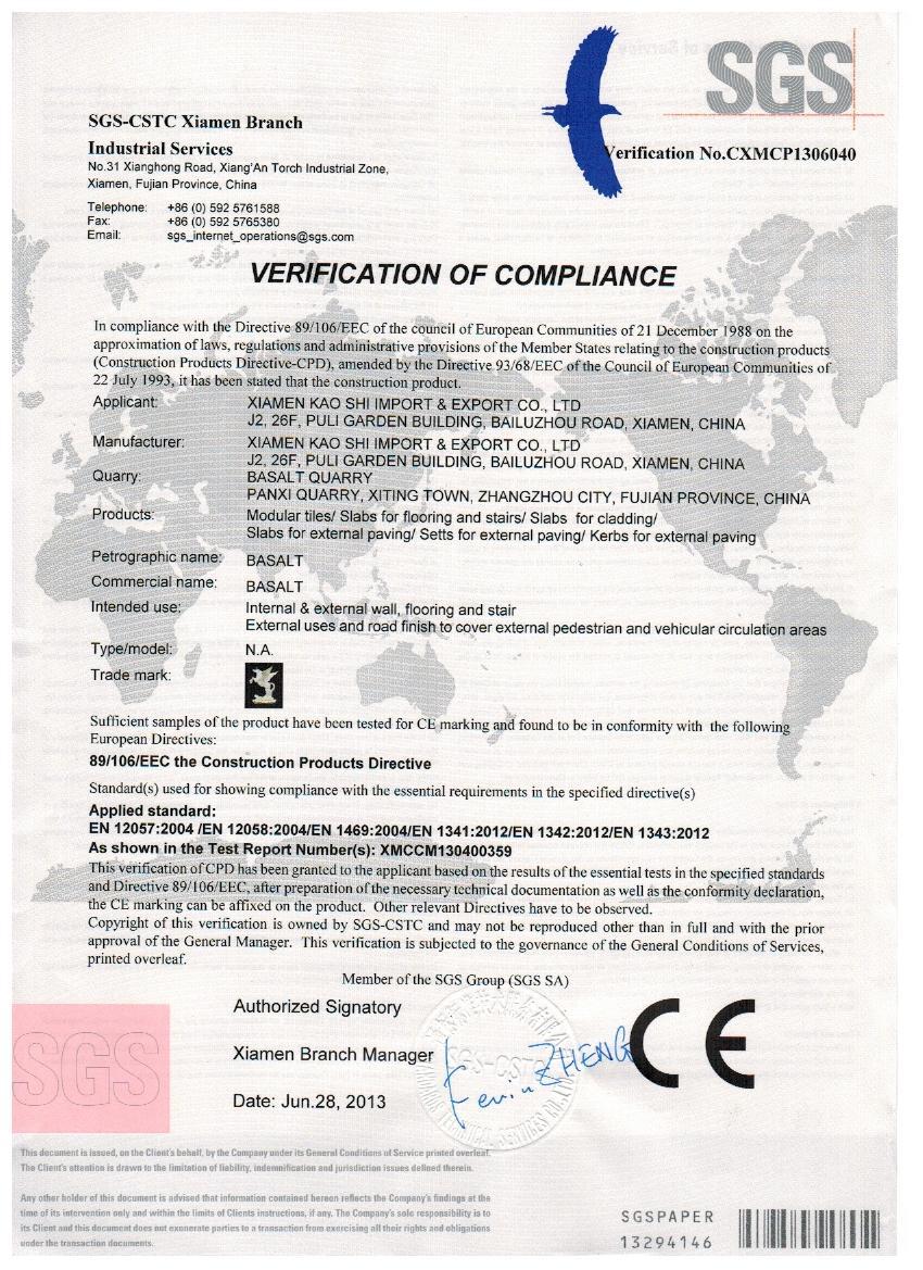 Basalt CE Certificate