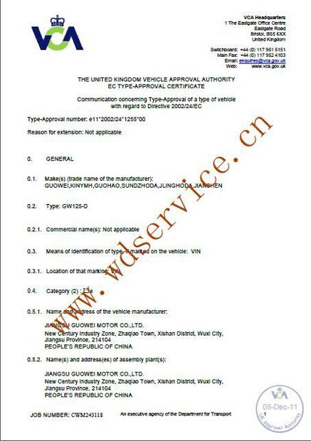 EEC/EMARK/COC certificate for motorcycle