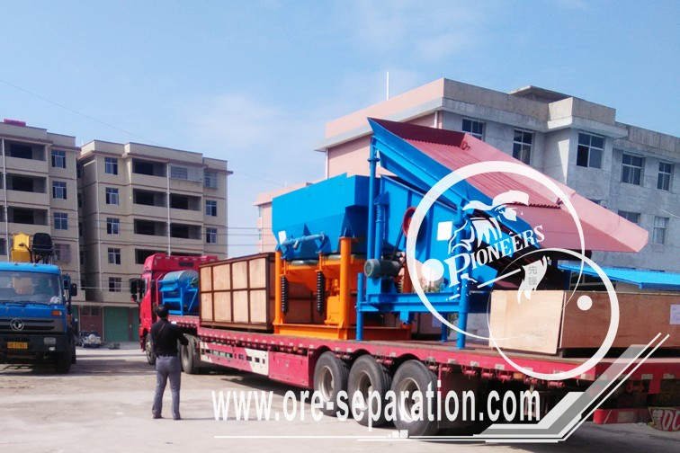 Mobile vibrating screen Jig machine Magnetic separator delivery to Jingxi, Guangxi