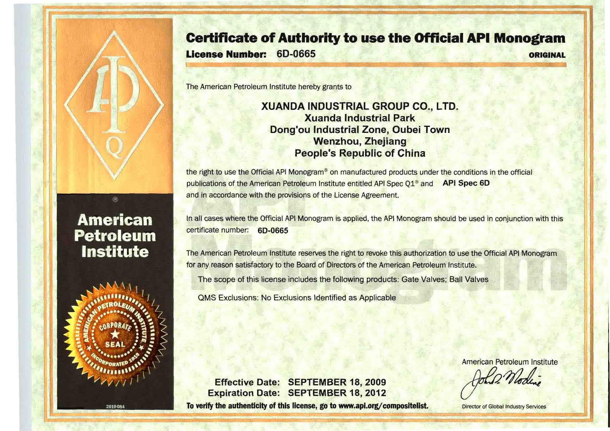 API 6D-0665