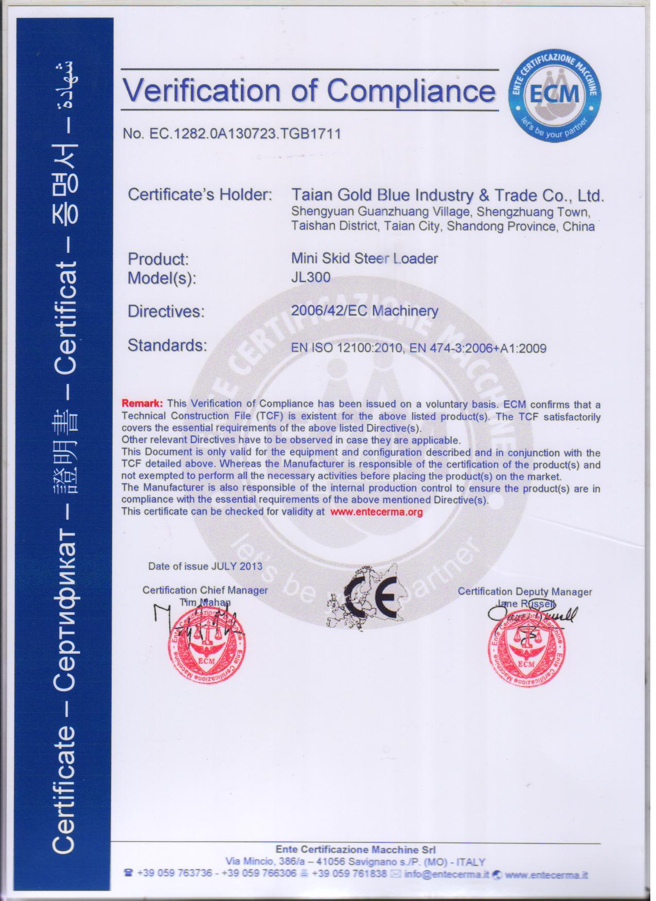 The CE certificate