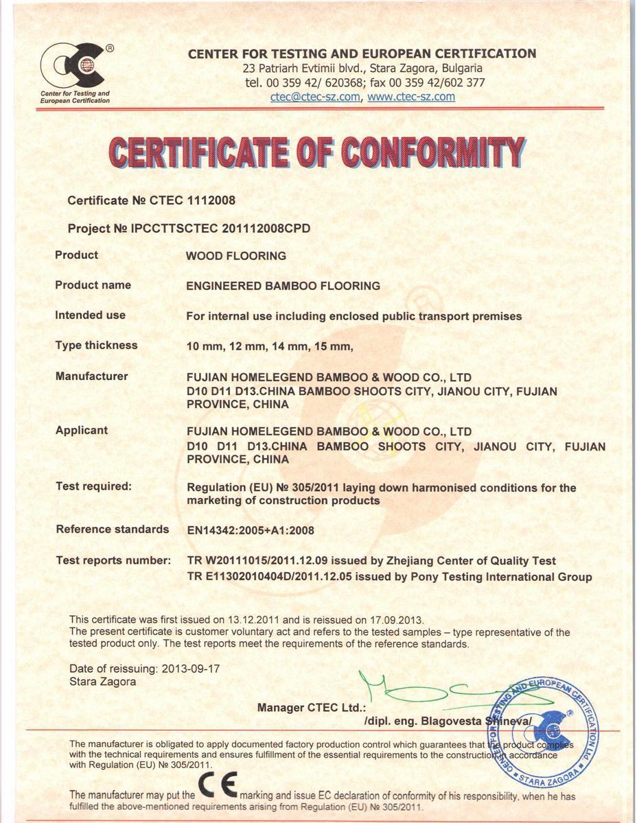 CE certificate of engineered bamboo flooring
