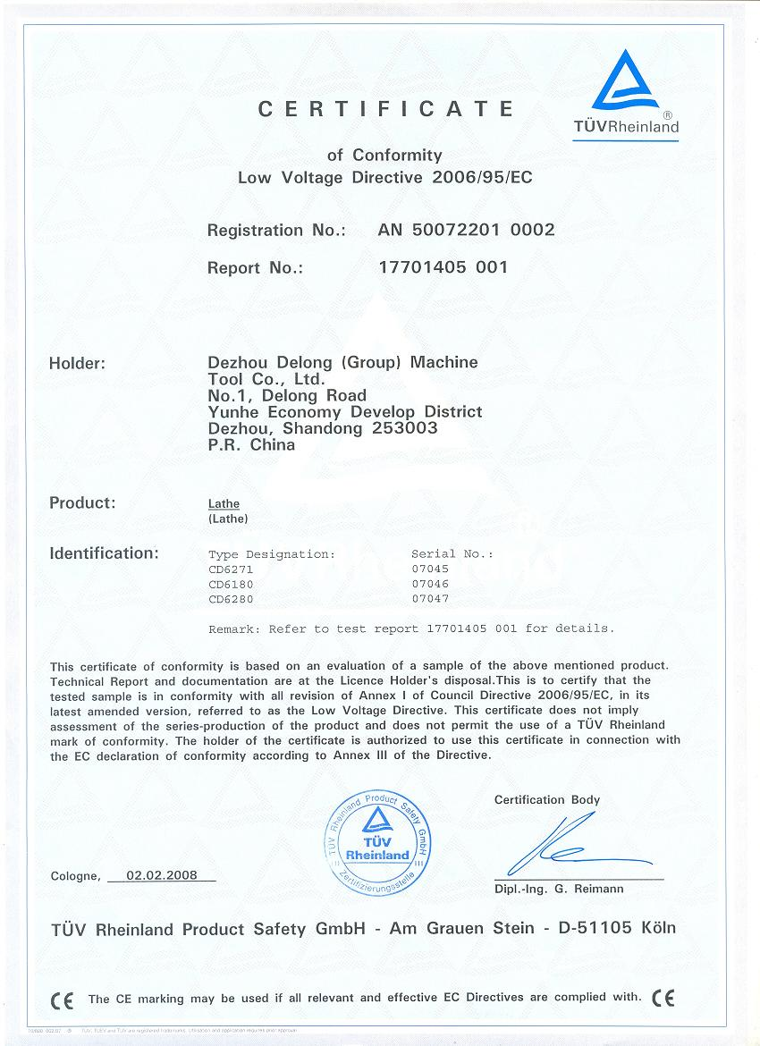 CD6181 CD6180 CD6280 CE CERTIFICATE-LOW VOLTAGE DIRECTIVE