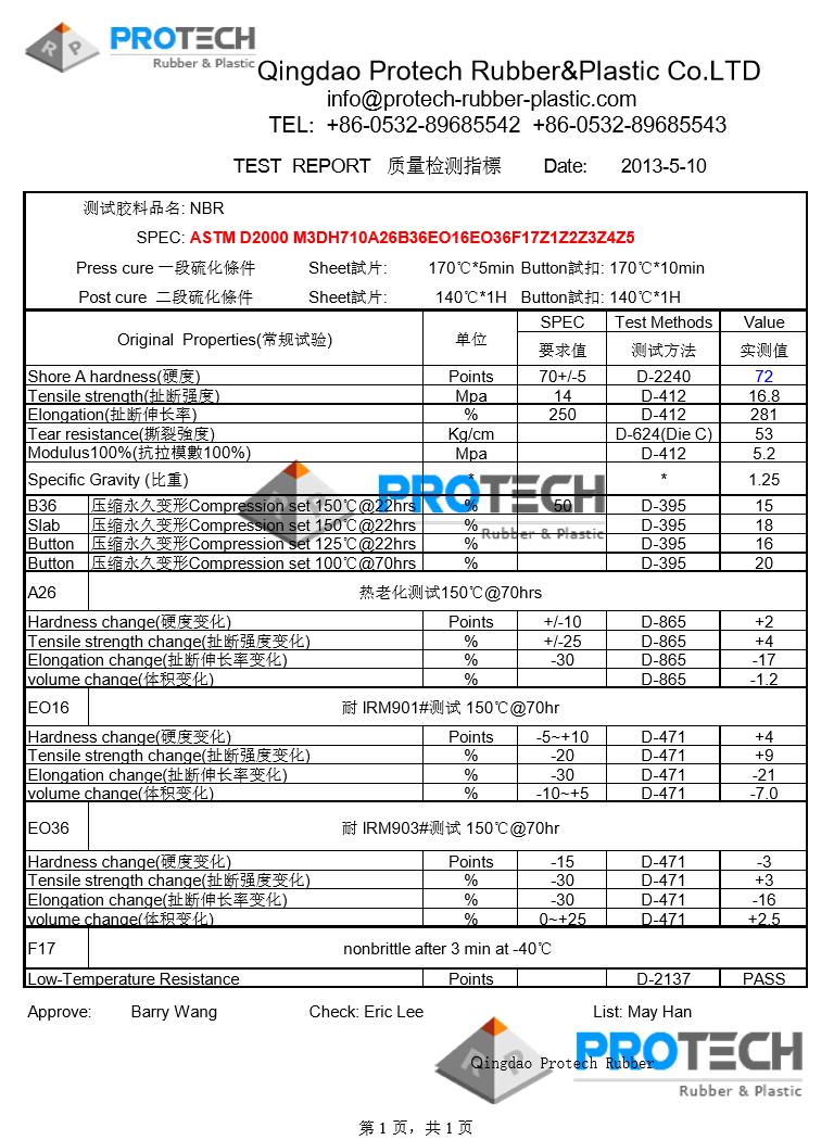 Qingdao Protech Material data sheet/ Rubber