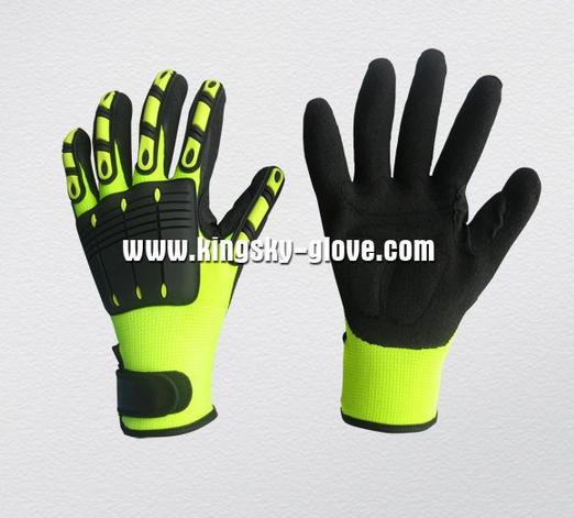 10G Knitting Liner Hi Viz Nitrile Coated Glove with TPR Back