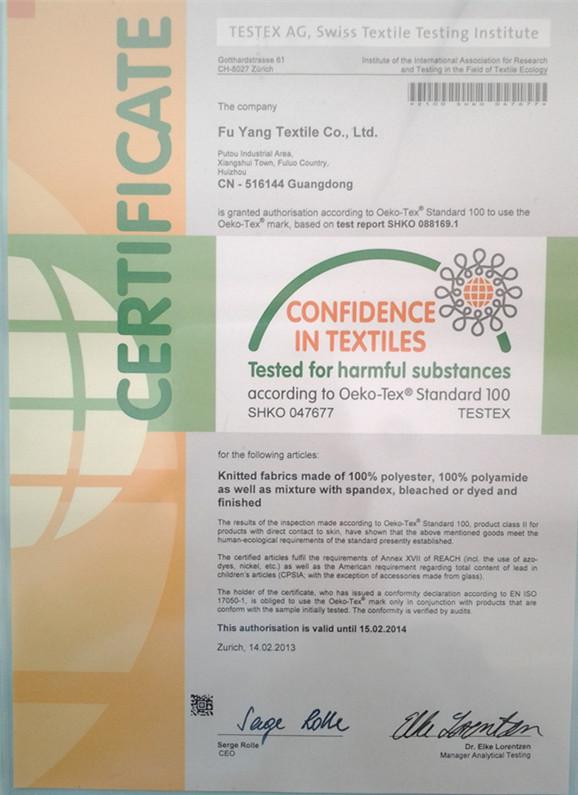 OEKO-TEX 100 certificate