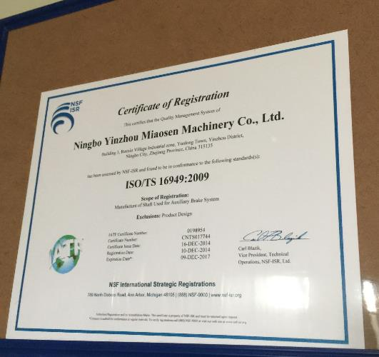 subsidiary certificate