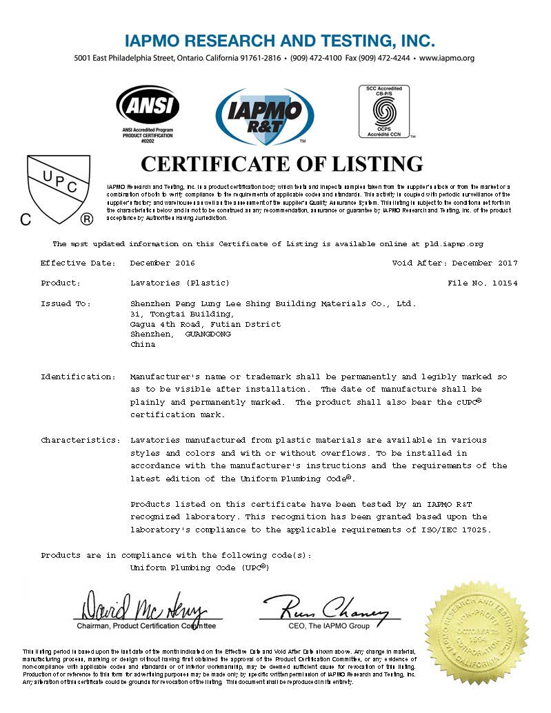 Wash basin CUPC certificate