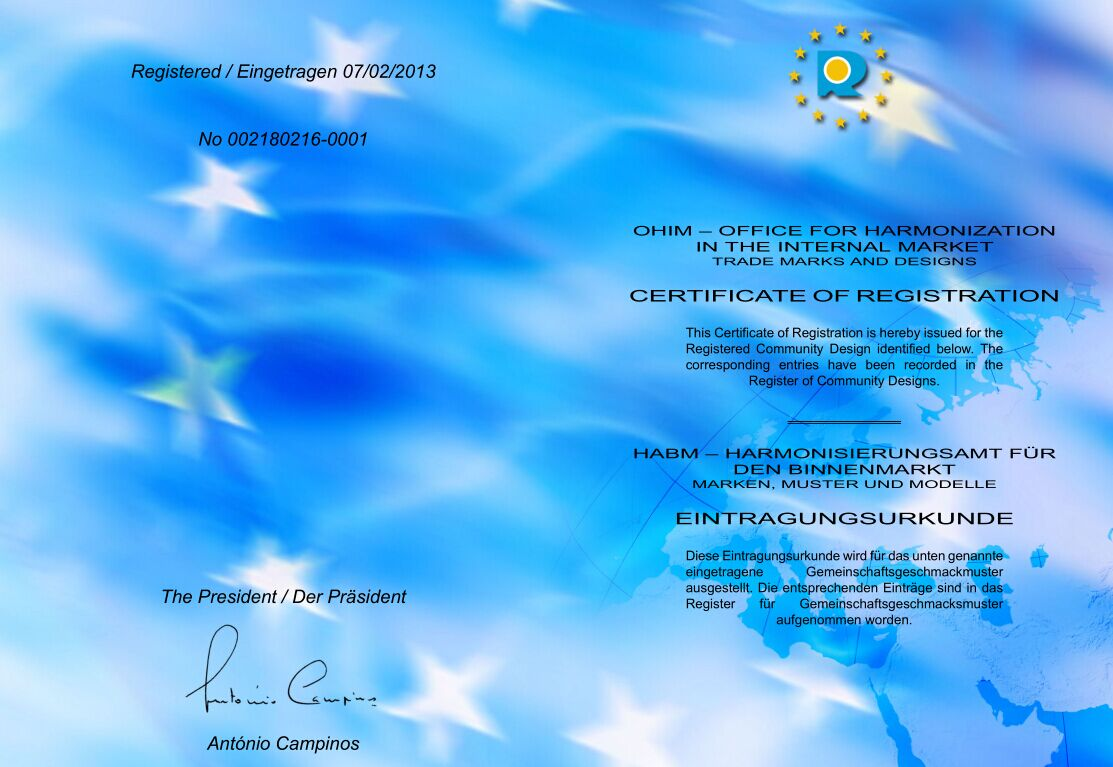 EU appearance registration certificate for solar lights