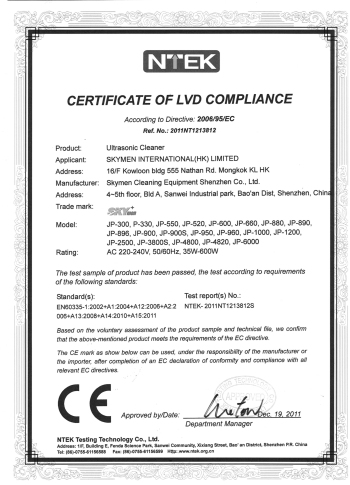 CE-LVD for plastic ultrasonic cleaners