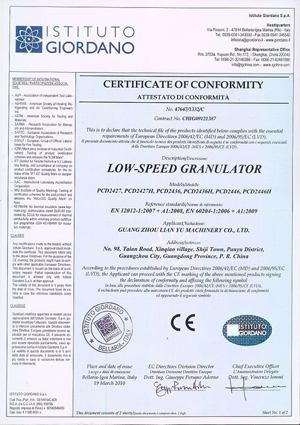Low-Speed Granulator CE Certificate