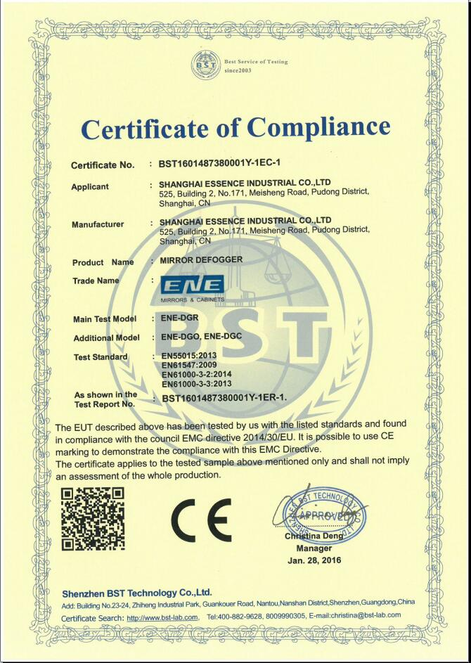 CE certifications for Mirror defogger