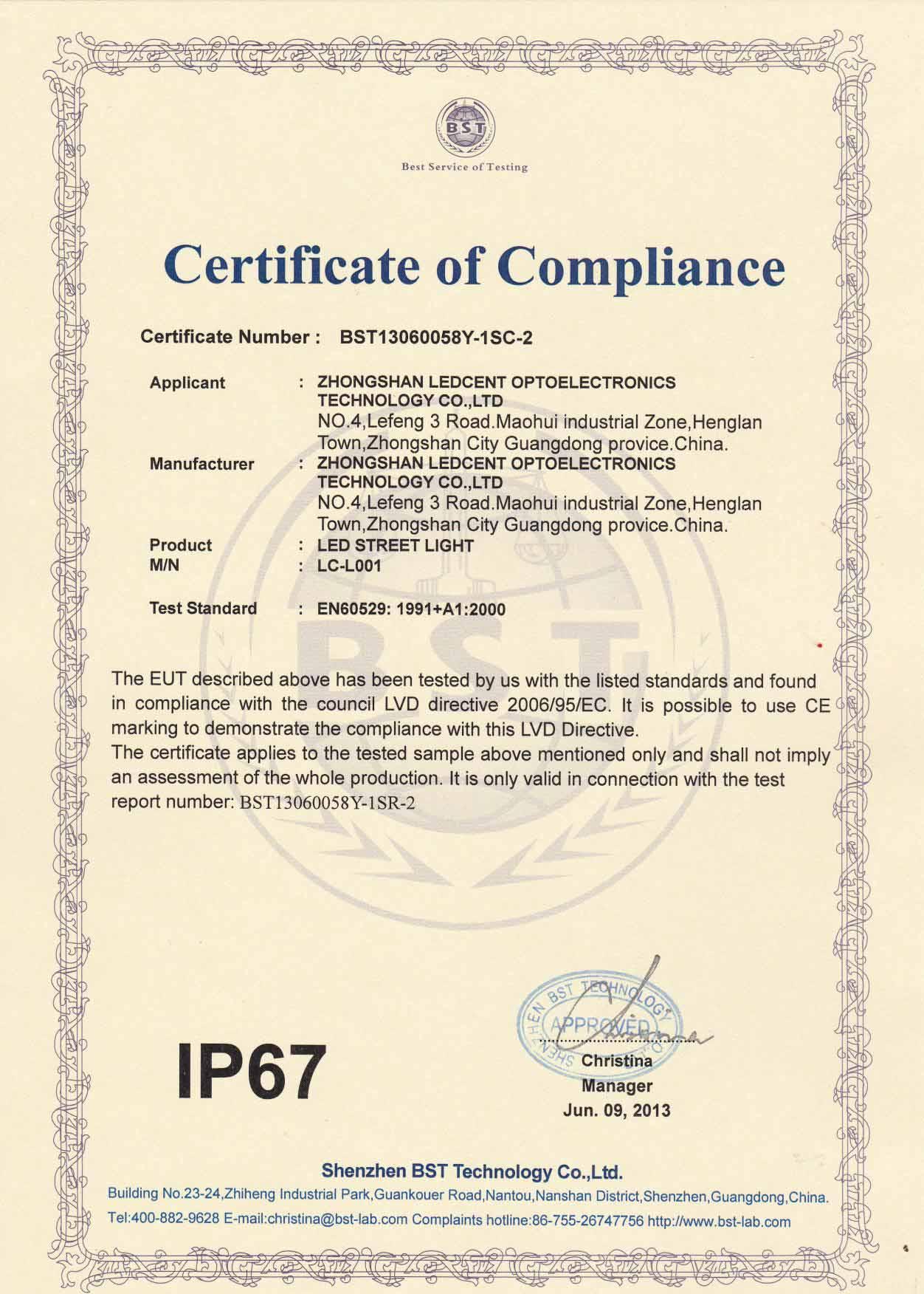 IP 67 certificate