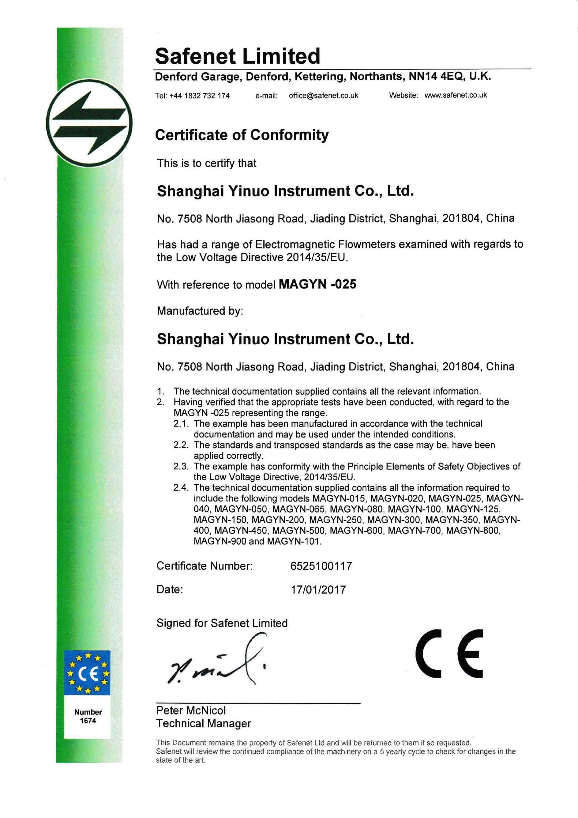 MAGYN LVD Certificate
