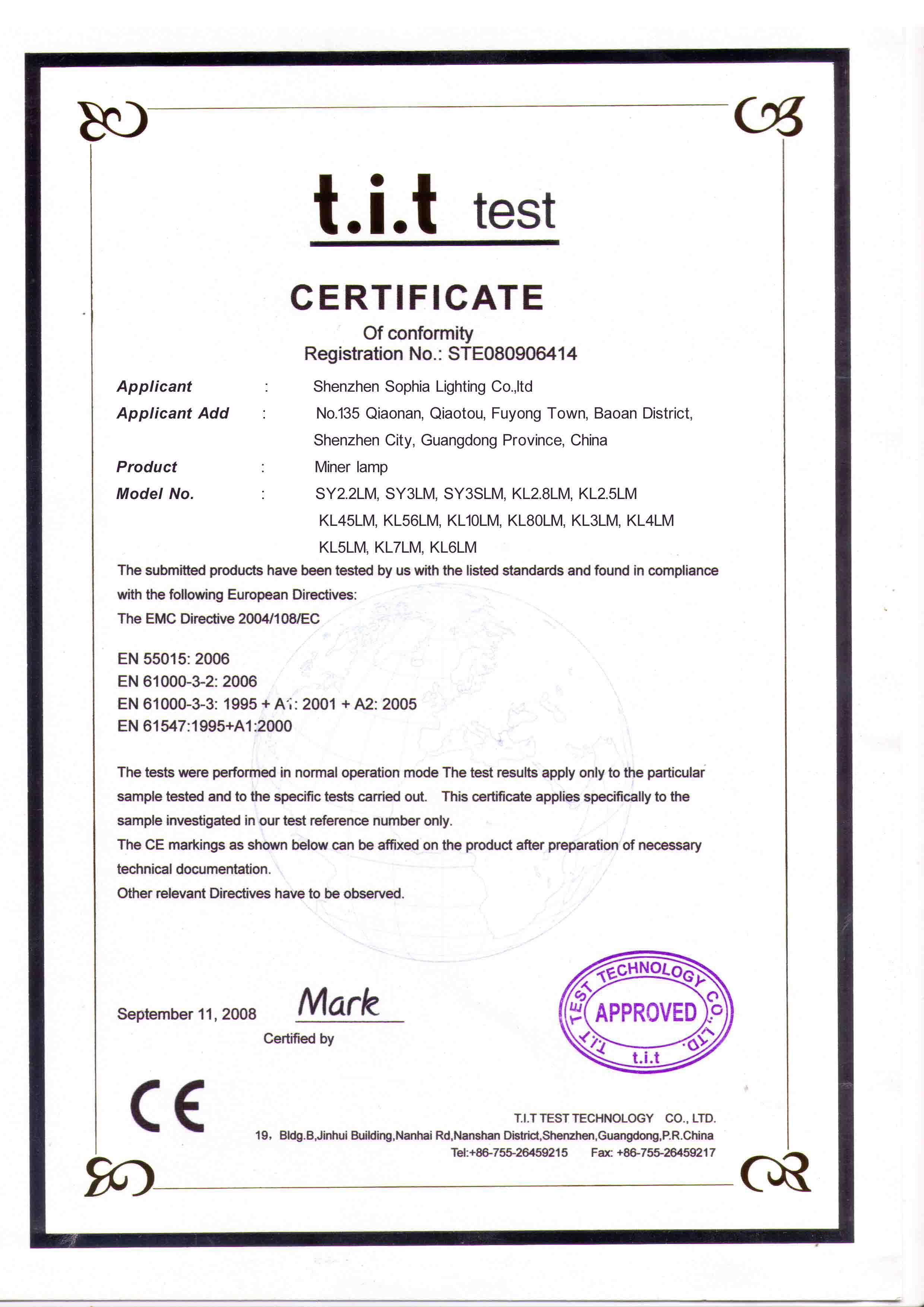 Certificate for LED head lamp, mining lamp, cap lamp