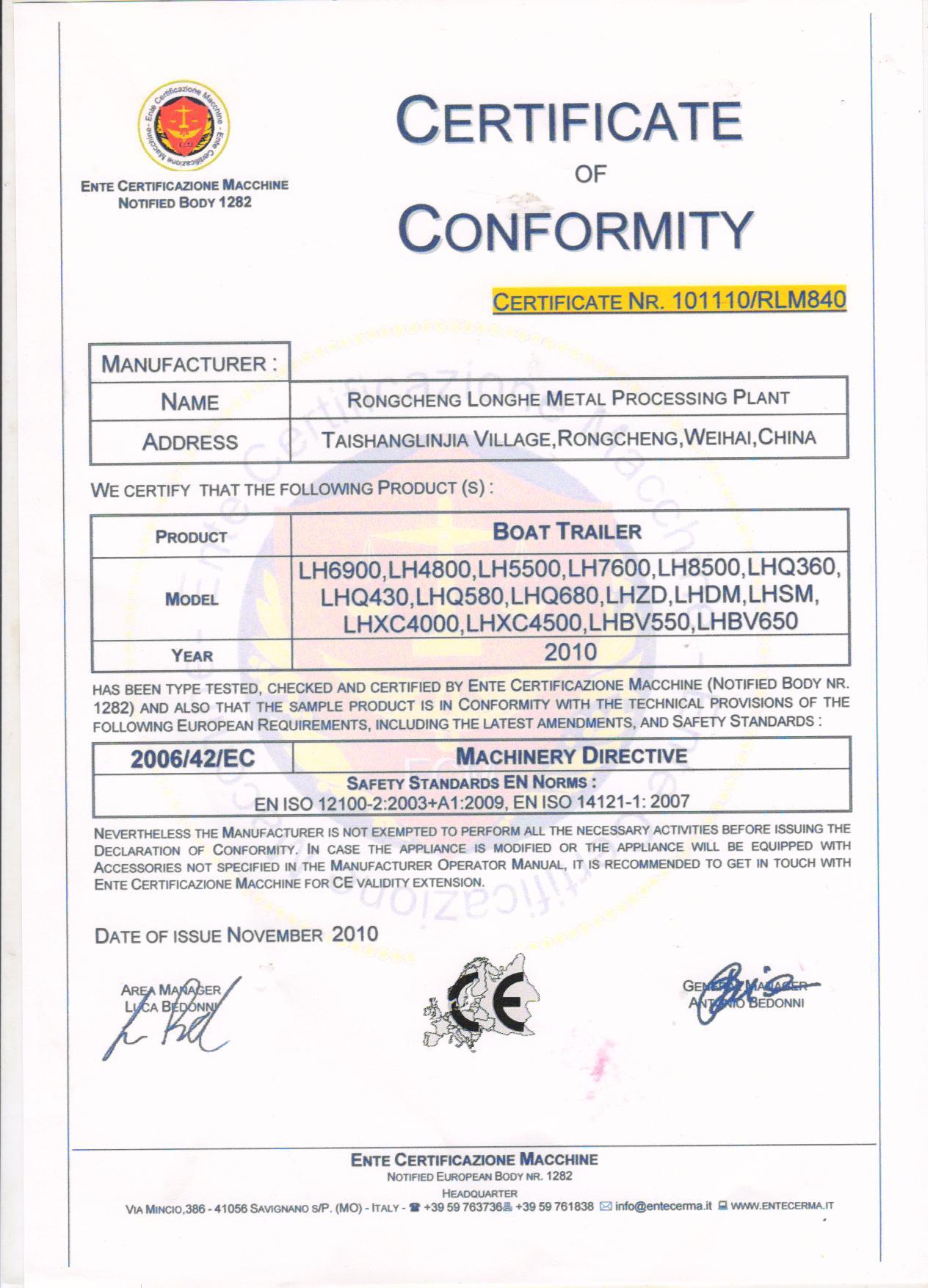 CE certificate-Boat trailer