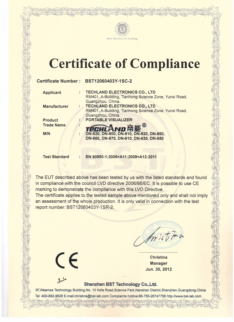 CE certifcate for Visualizer