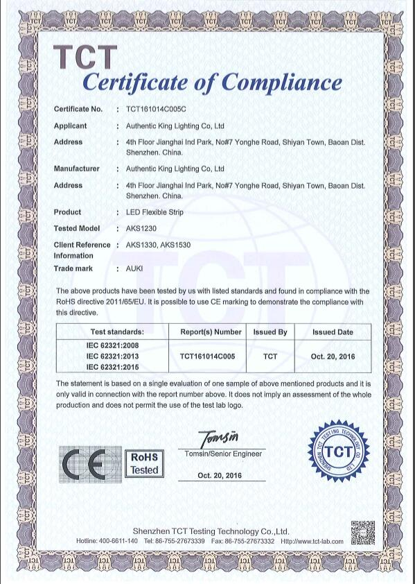 RoHS certification for the LED strip