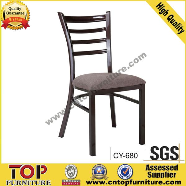 Hotel metal wood look restaurant dining chair
