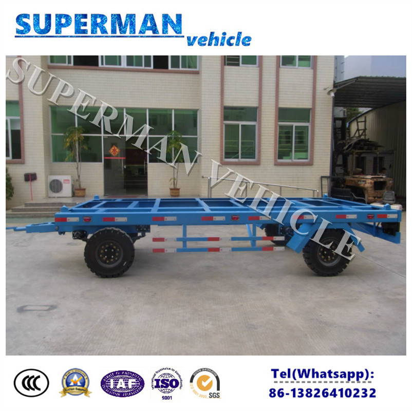 20FT Utility Flatbed Container Transport Industrial Drawbar Trailer for Port Use