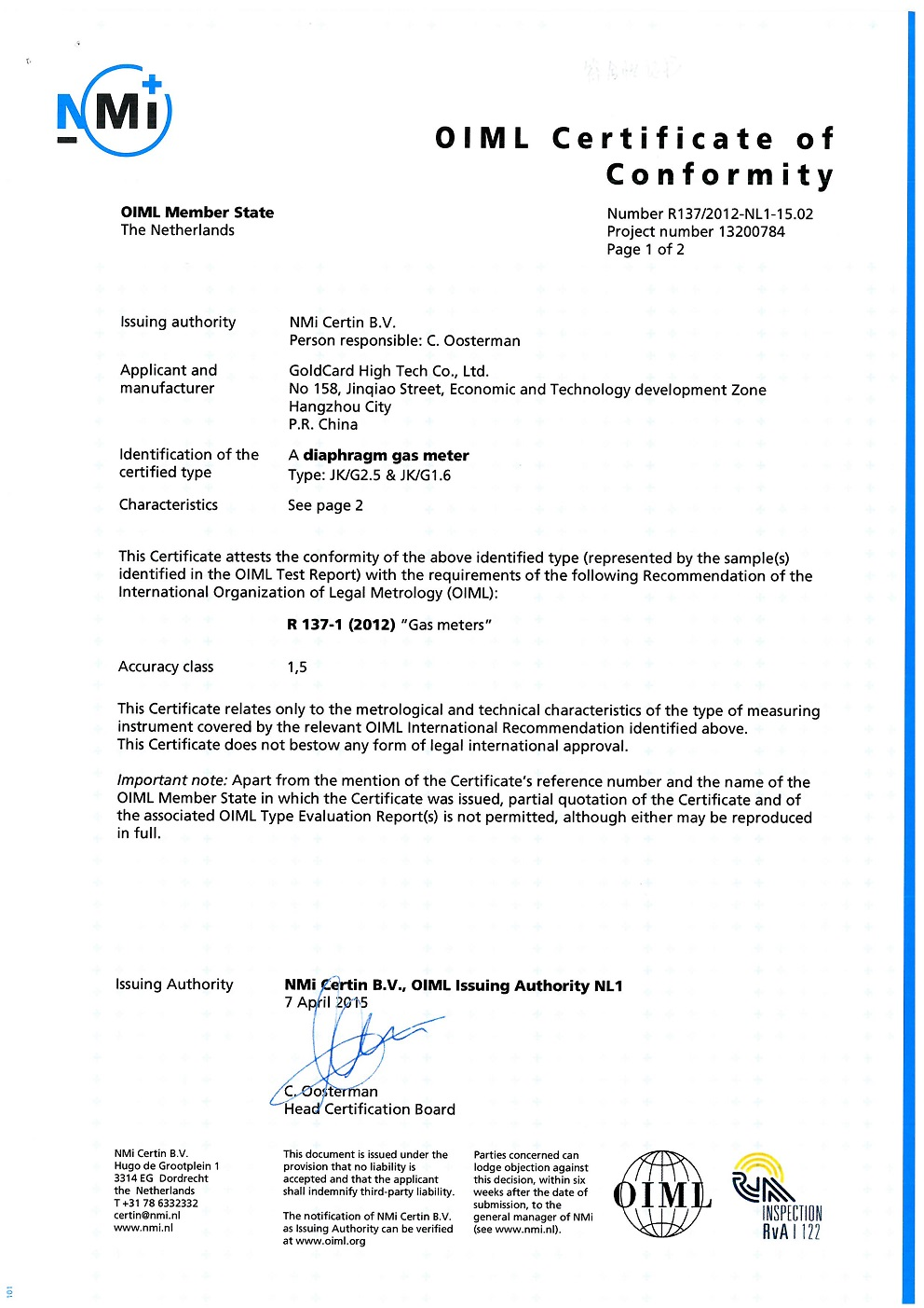 OIML certificate