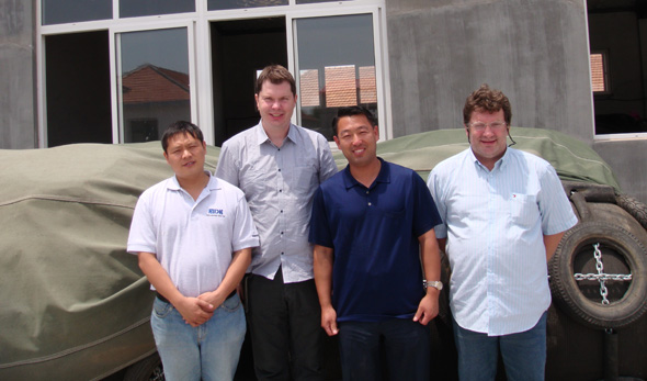 Customers visit to our factory about ship launching airbags,pneumatic rubber fenders