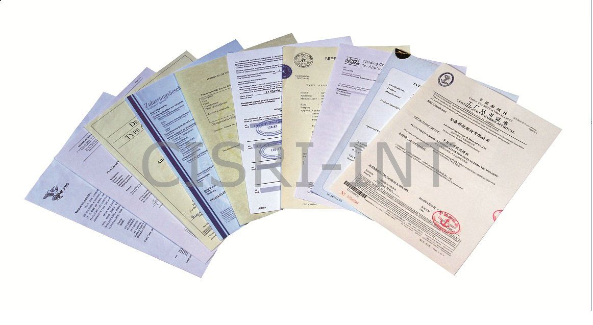 Certificates for welding wire