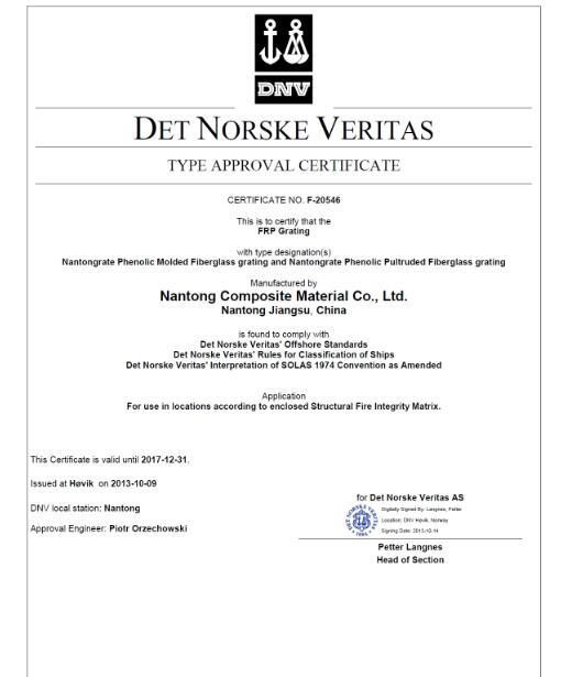 DNV certificate for Phenolic grating