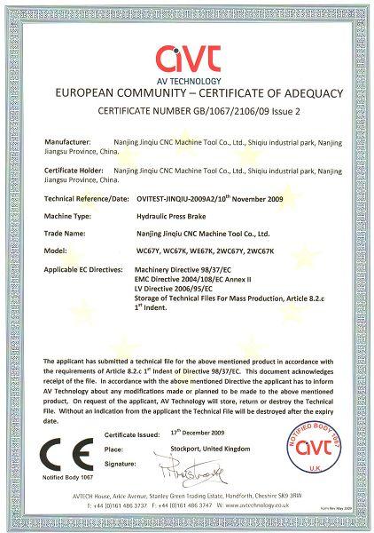 CE certification----press brake