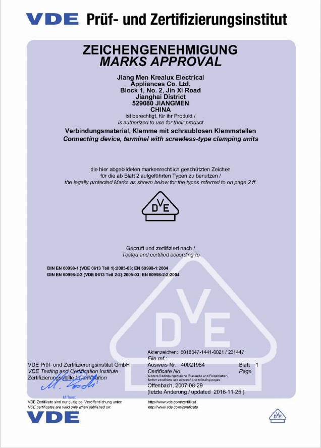 VDE certification for P02 series