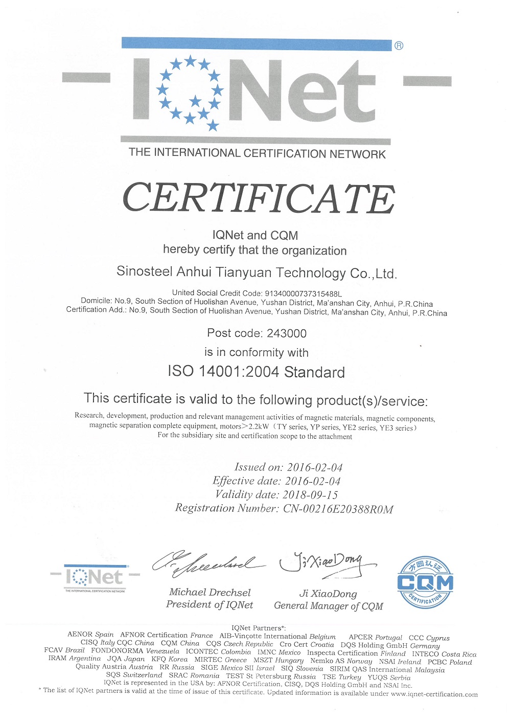 ISO 14001:2004 for Sinosteel