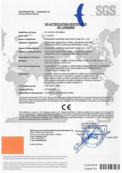 Bathtub CE Certificate