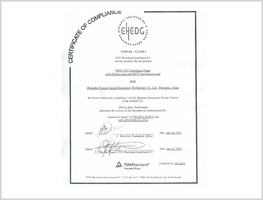 EHEDG CERTIFICATION