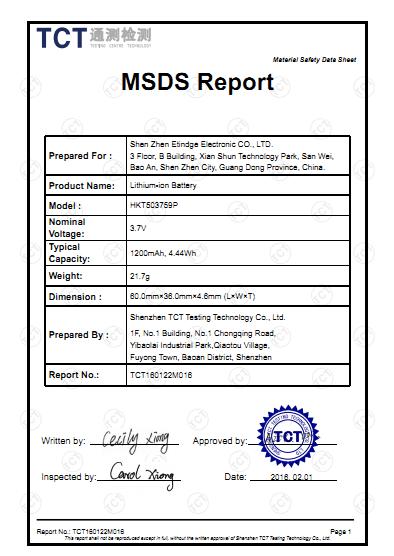 MSDS Certificate