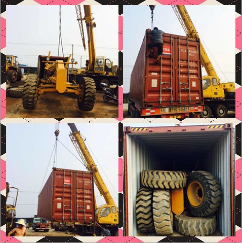 Used CAT 140H Grader Container Loading