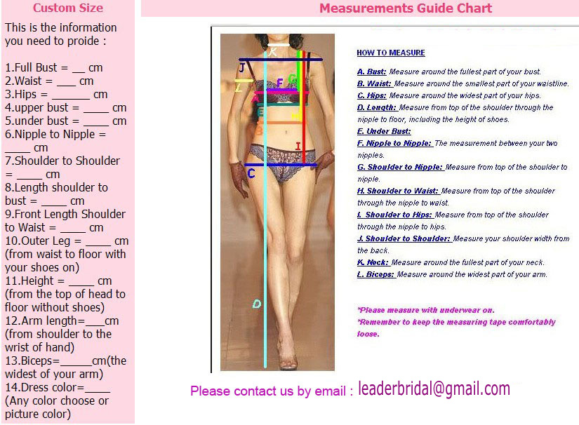 Measure guide Chart for Prom Evening Party Wedding Dresses