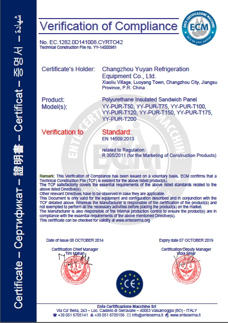 CE Certificate for Polyurethane Insulated Sandwich Panel