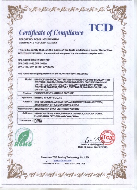 Fluorescent Lighting Fixture ROHS certificate