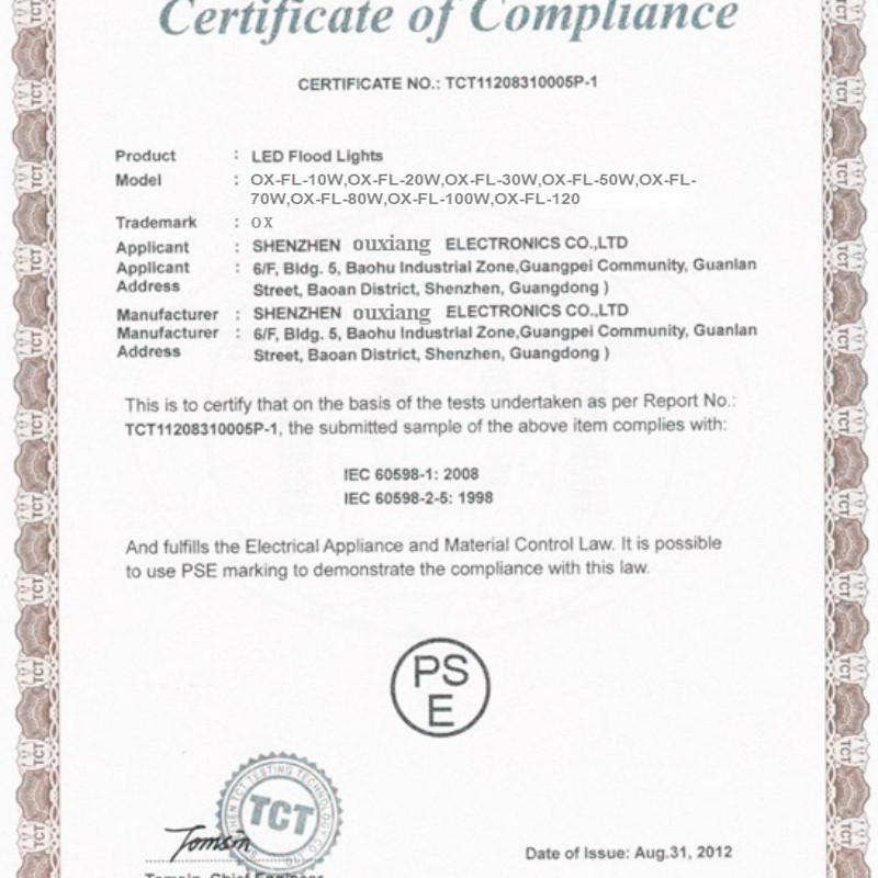 PSE certification for LED Flood Lights